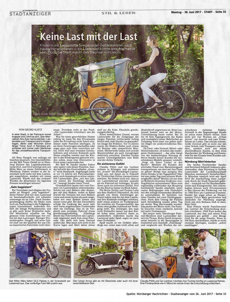 """Nürnberger Nachrichten Artikel im Stadtanzeiger zu Lastenrädern """"Kein Last mit der Last"""""""