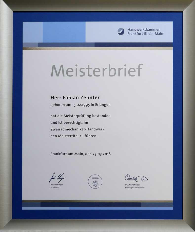 Meisterbrief Fabian Zehnter