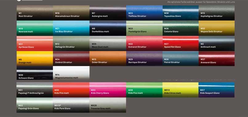 MTB-Cycletech Farbübersicht