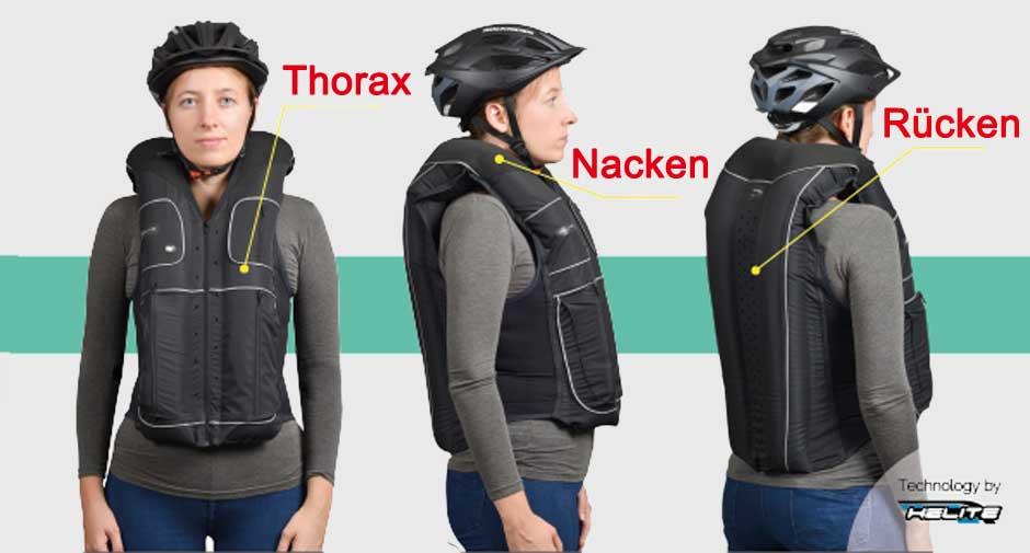 Airbag Schutzsystem für Radfahrer Schutzzonen